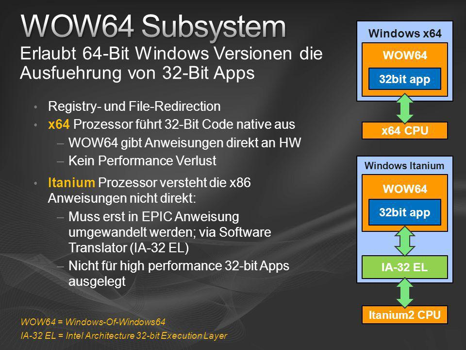 [Course Title] [Module Title] WOW64 Subsystem. Windows x64. Erlaubt 64-Bit Windows Versionen die Ausfuehrung von 32-Bit Apps.